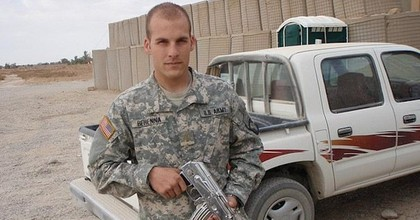 President Trump has granted former Army 1st Lt. Michael Behenna a full pardon for his charge of unpremeditated murder in a combat zone. Behanna is pictured in Iraq in 2008, shortly before he murdered an Iraqi prisoner. (Image: Facebook)