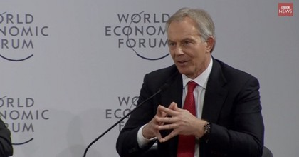 Speaking at the Davos convention on January 21, 2015, former UK Prime Minister Tony Blair defended his 2003 invasion of Iraq. (Screenshot via BBC News)