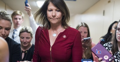 Rep. Cheri Bustos (D-Ill.) talks with reporters after a meeting of the House Democratic caucus in the Capitol on Tuesday, July 16, 2019. (Photo: Tom Williams/CQ Roll Call)