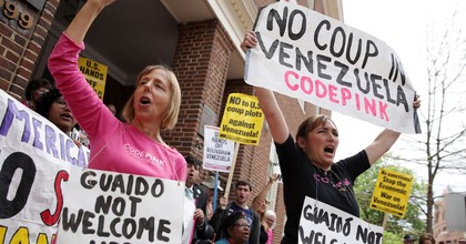 Medea Benjamin and Ariel Gold of CodePink during a news conference outside the Venezuelan Embassy on April 25, 2019. (Photo: Alex Wong/Getty Images)