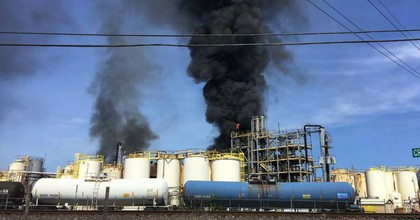 A chemical plant fire at 16503 Ramsey Road in Crosby, Texas on Tuesday, April 2. (Photo: Harris County Fire Marshal's Office)