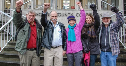 From left to right, the Delta 5 are Patrick Mazza, Mike LaPoint, Abby Brockway, Liz Spoerri and Jackie Minchew. (Photo: Rising Tide Seattle)