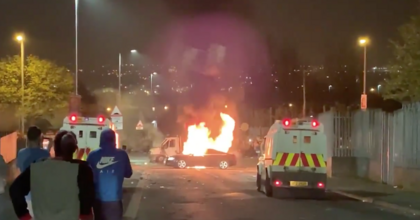 Fires burn in Derry, Northern Ireland, on Thursday night. The violence claimed the life of journalist Lyra McKee. (Photo: screenshot)