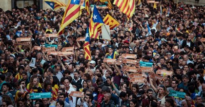 Catalan independence supporters hold a rally in front of the Generalitat de Catalunya after the Catalan Parliament voted to declare independence from Spain on October 27, 2017 in Barcelona, Spain. MPs in the Catalan parliament have today voted following a two day session on how to respond the Spanish government's enacting of Article 155, which would curtail Catalan autonomy. (Photo: Jack Taylor/Getty Images)