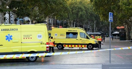 A general view of ambulances at the scene of a terrorist attack in the Las Ramblas area on August 17, 2017 in Barcelona, Spain. Officials say 13 people are confirmed dead and at least 50 injured after a van plowed into people in the Las Ramblas area of the city this afternoon. (Photo by David Ramos/Getty Images)