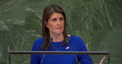 U.S. Ambassador to the United Nations Nikki Haley spoke to the General Assembly on Thursday after her resolution condemning Hamas failed. (Screengrab/Twitter)