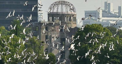 Doves were released at the Hiroshima, Japan Peace Memorial Park on August 6, 2015 to memorialize the 70th anniversary of the atomic bombing of Hiroshima. (Photo: Kazuhiro Nogi/AFP/Getty)