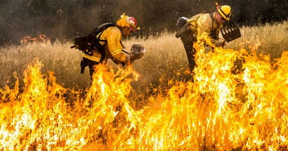 Firefighters work to dig a fire line on the Rocky Fire in Lake County, California July 30, 2015. This week, three scientific agencies announced that July was the hottest month on Earth since records were started in 1880. (Photo: Reuters/Max Whittaker)