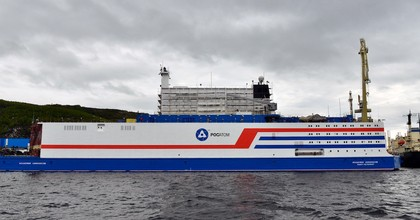 A view of Akademik Lomonosov, a floating nuclear power unit, its hull painted at the Atomflot base; being part of a floating nuclear power station, the vessel belongs to a new class of energy sources based on Russian nuclear shipbuilding technologies. (Photo: Lev Fedoseyev\TASS via Getty Images)
