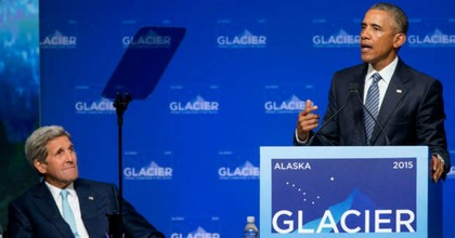 President Barack Obama, right, accompanied by Secretary of State John Kerry, left, speaks at the Global Leadership in the Arctic: Cooperation, Innovation, Engagement and Resilience (GLACIER) Conference at Dena'ina Civic and Convention Center in Anchorage, Alaska, Monday, Aug. 31, 2015. Obama opened a three-day trip to Alaska aimed at showing solidarity with a state often overlooked by Washington, while using its changing landscape as an urgent call to action on climate change. (Photo: AP/Andrew Harnik)