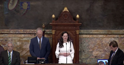 Pennsylvania state Rep. Stephanie Borowicz delivers a controversial prayer at the statehouse Monday. (Photo: screenshot, Pa. House Video)