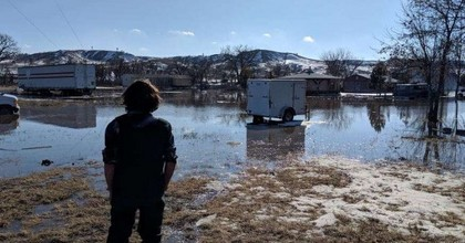 Flooding at Lakota Pine Ridge Indian Reservation. (Photo: Elizabeth Seymour, Facebook)