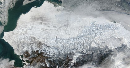 Point Barrow, the northern-most location in the United States sits between the Chukchi Sea (west) and the Beaufort Sea on the east. (Photo: NASA/GSFC/Jeff Schmaltz/MODIS Land Rapid Response Team/Flickr)