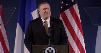 Secretary of State Mike Pompeo delivers remarks Monday at the Arctic Council meeting in Finland. (Image: screenshot)