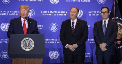 U.S. President Donald Trump speaks as U.S. Secretary of State Mike Pompeo and Treasury Secretary Steven Mnuchin listen during a press conference on the sidelines of the United Nations General Assembly on September 25, 2019 in New York City. Speaker of the House Nancy Pelosi announced yesterday that the House will launch a formal impeachment inquiry into President Trump. (Photo: Drew Angerer/Getty Images)