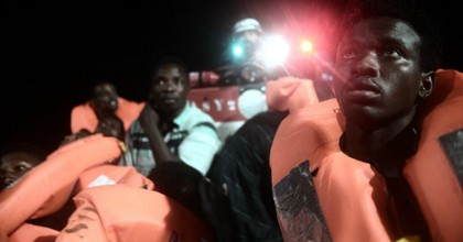 More than 600 people are stuck on a rescue ship between Italy and Malta after being saved from the Mediterranean Sea. (Photo: Karpov/SOSMéditerranée/Twitter)