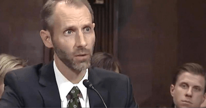 FEC commissioner Matthew Spencer Petersen was unable to define basic legal terms and procedures and admitted he had never tried a civil or criminal case, in his confirmation hearing for a U.S. District Court appointment. (Photo: @TheAlt_Media/Twitter)