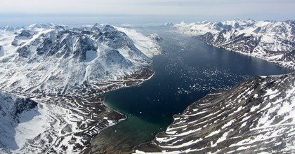 A fjord is seen from the air in southwest Greenland, where new research shows ice is melting even more rapidly that scientists previously feared. (Photo: NASA/Maria-Jose Viñas)
