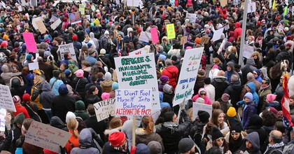 During his planned June 5 visit to Ireland, President Donald Trump may face protests like this one in St. Louis from 2017. (Photo: Paul Sableman, Wikimedia Commons)