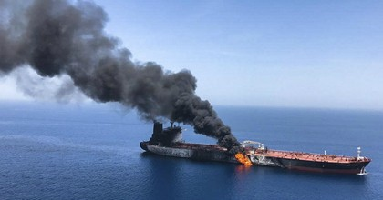 An oil tanker on fire in the sea of Oman after an alleged attack on Thursday June 13, 2019. (Photo: AP/ISNA)