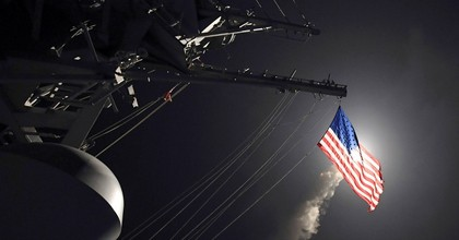 The guided-missile destroyer USS Porter (DDG 78) launches a tomahawk land attack missile in the Mediterranean Sea. (Photo: US Navy)