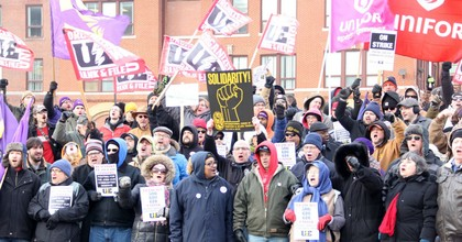 Union workers at a locomotive plant in Erie, Pennsylvania launched a strike on Feb. 26 after Wabtec Corporation refused to honor a contract with the plant's previous owner. (Photo: UE/Facebook)