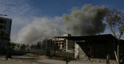 An aid group circulated photos from the bombings conducted by pro-regime forces in the suburbs of Syria's capital city on Monday. (Photo: Union of Medical Care and Relief Organizations)