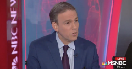 Bret Stephens on MSNBC Tuesday defending his reaction to mild Twitter joke Monday night. (Image: screenshot)