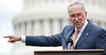 Senate Minority Leader Chuck Schumer (D-N.Y.) delivers remarks during a press conference with Democratic lawmakers on gun violence along the east front of the U.S. Capitol on June 20, 2019 in Washington, D.C. (Photo: Tom Brenner/Getty Images)