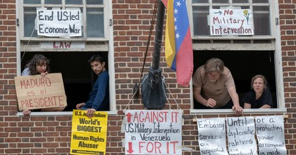 Peace activists lived at the Venezuelan Embassy in Washington, D.C. for more than a month in hopes of blocking the Trump administration from turning it over to supporters of an effort to oust the country's elected president. (Photo: Jeremy Bigwood)