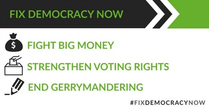 """A week-long campaign called """"Fix Democracy Now"""" is calling on candidates to strengthen voting rights and get big money out of politics. (Photo: @EveryVoice/Twitter)"""