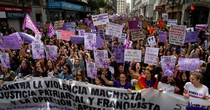 Students protest in the streets during International Women's Day on March 8, 2019 in Madrid, Spain. (Photo: Pablo Blazquez Dominguez/Getty Images)