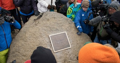 A monument is unveiled at the site of Okjokull, Iceland's first glacier lost to climate change in the west of Iceland on August 18, 2019. (Photo: Jeremie Richard/AFP/Getty Images)