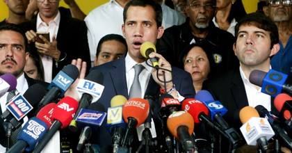 Venezuelan opposition leader Juan Guaidó—who attempted to spark a military coup last week with expressed U.S. backing—speaks during a press conference at the headquarters of political party Un Nuevo Tiempo on May 03, 2019 in Caracas, Venezuela. (Photo: Eva Marie Uzcategui/Getty Images)