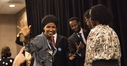 Rep. Ilhan Omar (D-Minn.) waves to supporters at an election night results party on November 6, 2018 in Minneapolis, Minnesota. (Photo: Stephen Maturen/Getty Images)