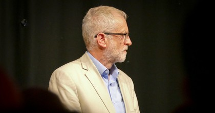 """Jeremy Corbyn Leader of the Labour Party after speaking at a """"Labour Roots"""" event, Bolton, August 17, 2019."""