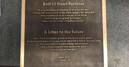 Text from the plaque that will mark the site where Ok glacier once was. (Photo: Rice University)