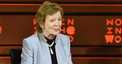 Mary Robinson, former president of Ireland and the founder of the Mary Robinson Foundation for Climate Justice, speaks at the Women In The World Summit on April 23, 2015 in New York City. (Photo: Mike Coppola/Getty Images)