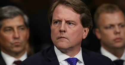 White House Counsel Don McGahn listens to Judge Brett Kavanaugh as he testifies before the Senate Judiciary Committee during his Supreme Court confirmation hearing in the Dirksen Senate Office Building on Capitol Hill September 27, 2018 in Washington, DC. (Photo: Win McNamee/Getty Images)