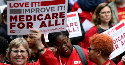 Medicare for All supporters hold a rally outside PhRMA headquarters April 29, 2019 in Washington, D.C. (Photo: Win McNamee/Getty Images)