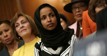 U.S. Rep. Ilhan Omar (D-Minn.) (3rd L) listens during a news conference at the U.S. Capitol January 4, 2019 in Washington, DC. (Photo: Alex Wong/Getty Images)