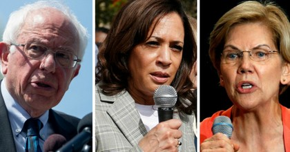 Sens. Bernie Sanders (I-Vt.), Kamala Harris (D-Calif.), and Elizabeth Warren (D-Mass.) all expressed outrage at the Department of Justice's decision not to prosecute the New York City police officer who is accused of killing Eric Garner in 2014. (Photos: Rhona Wise/Saul Loeb/AFP/Getty)