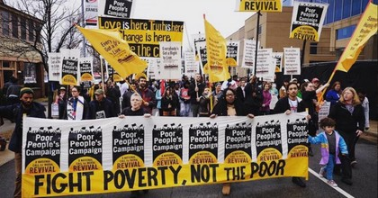 """The Poor People's Campaign has announced a new nationwide bus tour to draw attention to """"real"""" national emergencies. (Photo: 350.org/Twitter)"""