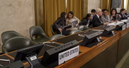 The U.S. delegation walked out in protest against the presidency of Venezuela during the Conference on Disarmament at the European headquarters of the United Nations in Geneva. (Photo: Salvatore Di Nolfi/Keystone via AP)