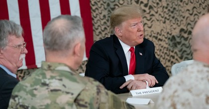 President Donald J. Trump attends a briefing with military leadership members Dec. 26, 2018, at the Al-Asad Airbase in Iraq. (Photo: Shealah Craighead/White House/Flickr)