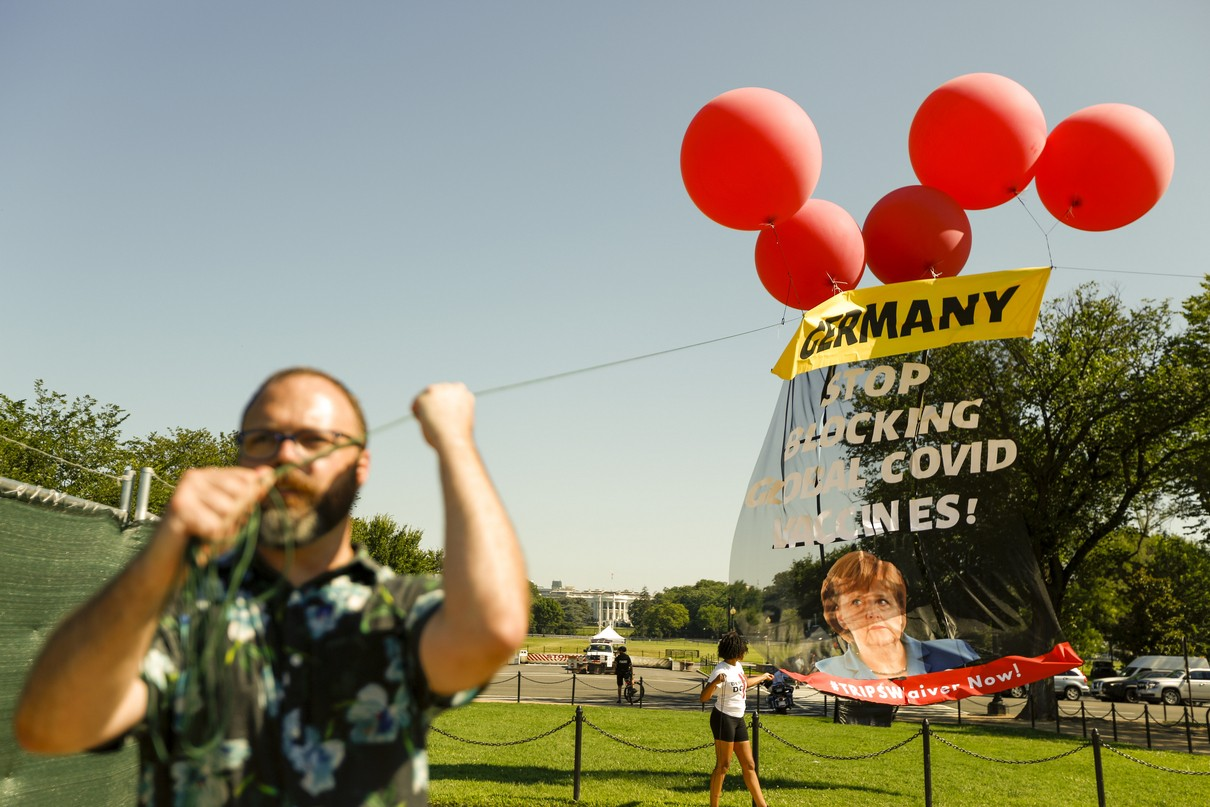 Protesters demand Merkel support vaccine patent waiver