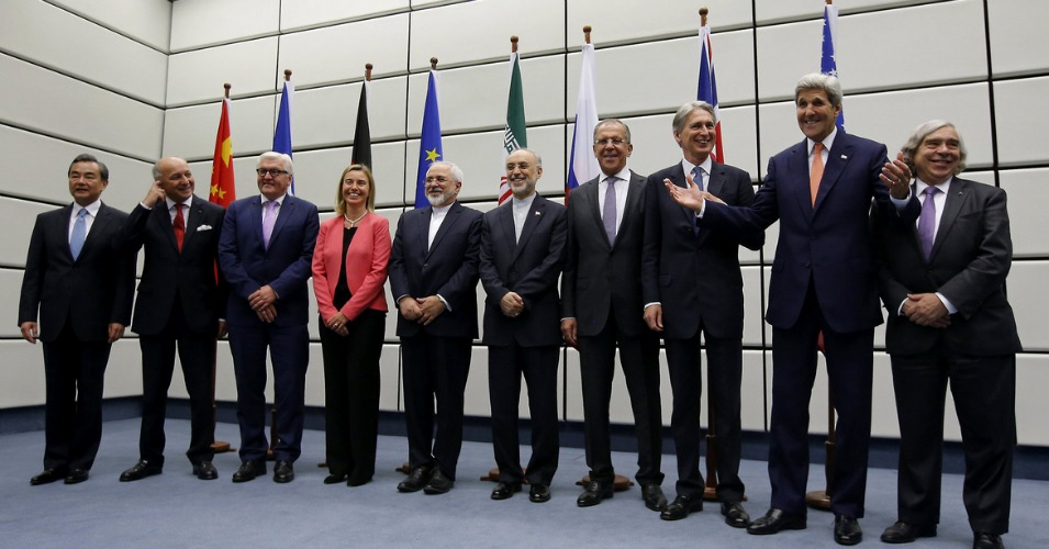 Delegates from world powers pictured in Vienna, Austria on Tuesday after reaching an agreement. (Photo: Carlos Barria)