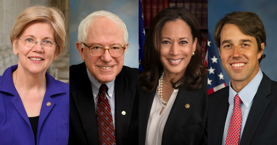 Sens. Elizabeth Warren (D-Mass.), Bernie Sanders (I-Vt.), and Kamala Harris (D-Calif.)—as well as former Rep. Beto O'Rourke (D-Texas)—appear to be the top targets for 2020 misinformation on social media platforms. (Photos: U.S. Congress official portraits)