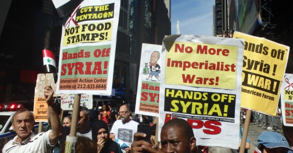 Protesters marched in New York City to oppose military action against Syria in 2013. (Photo: The All-Nite Images/Flickr/cc)