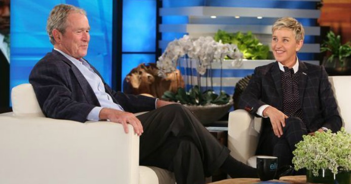 Former president George W. Bush, who lied the nation into war against Iraq, appearing on the show Ellen, hosted by comedian Ellen Degeneres. (Image: Screengrab)